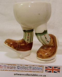 Carlton Ware Lustre Pottery Walking Ware Brown Shoes Running Eggcup on Stand - SOLD